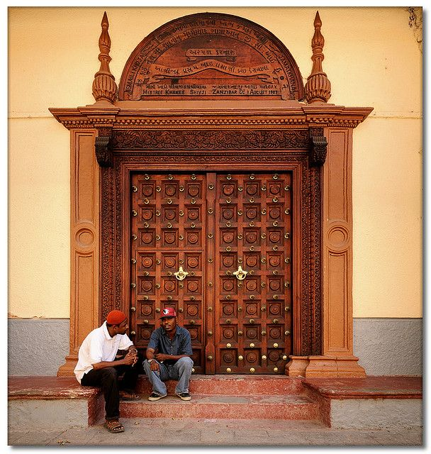 Africa | Beautiful ornately carved  and studded door in Stone Town, Zanzibar.| © Paul Bruins
