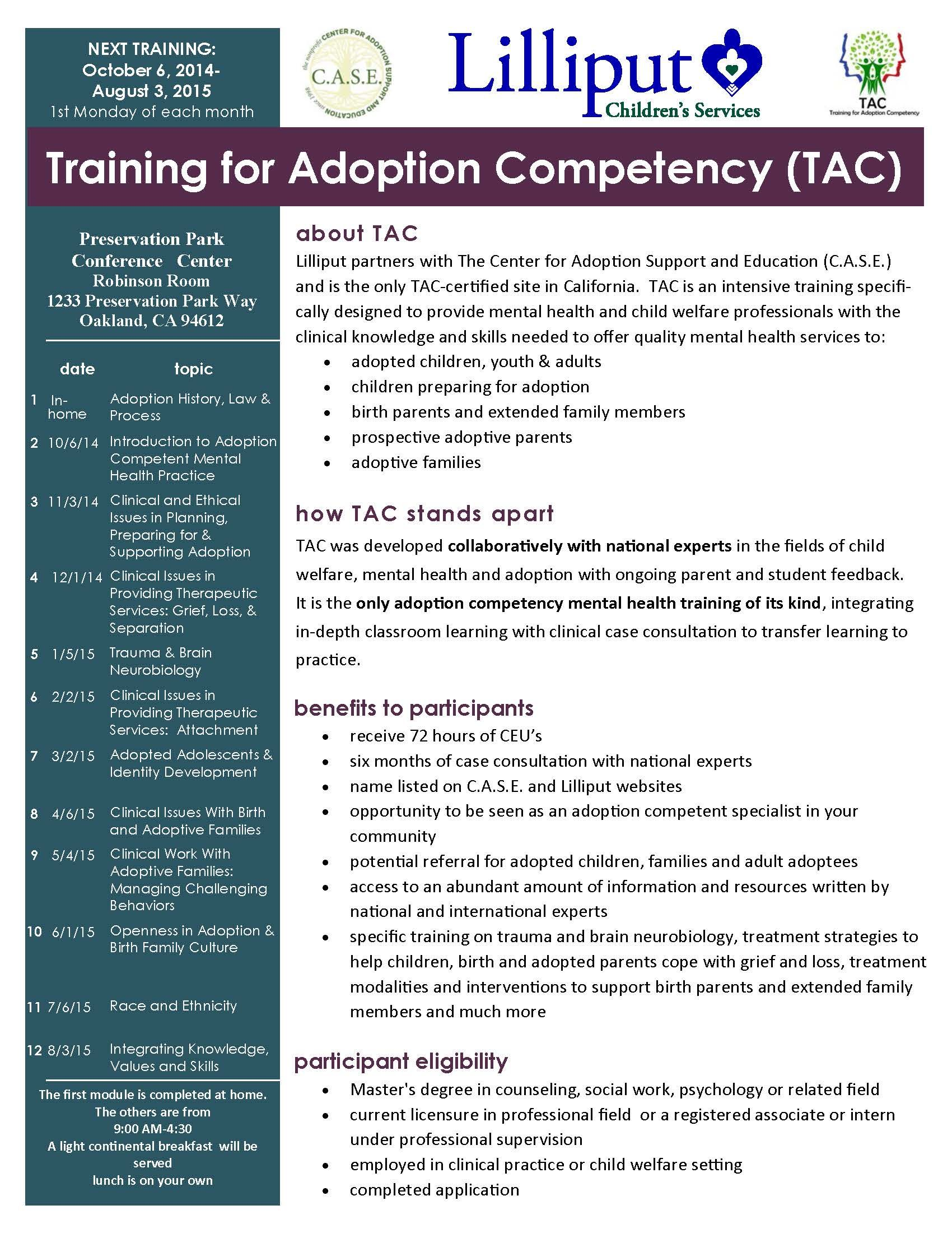 Training for Adoption Competency - flyer page 1 10/6/14 - 8/3/15 Oakland, CA