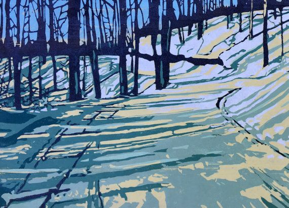 Winter's Walk, large handmade woodblock print