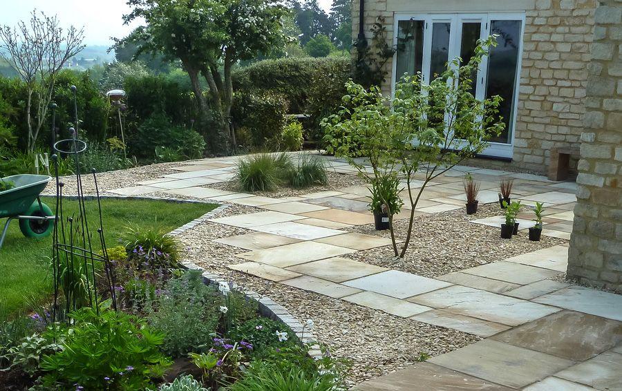 Sandstone with shingle and granite setts | Back garden ...
