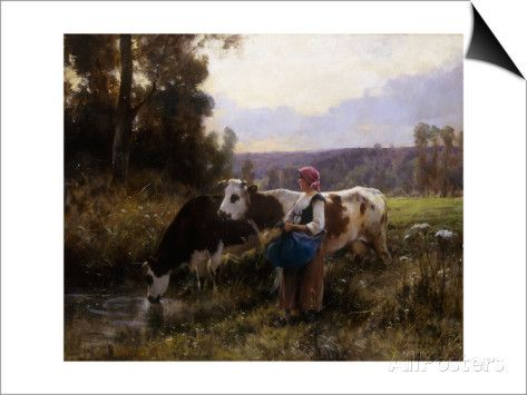 Cows at the Watering Hole Art by Julien Dupre at AllPosters.com