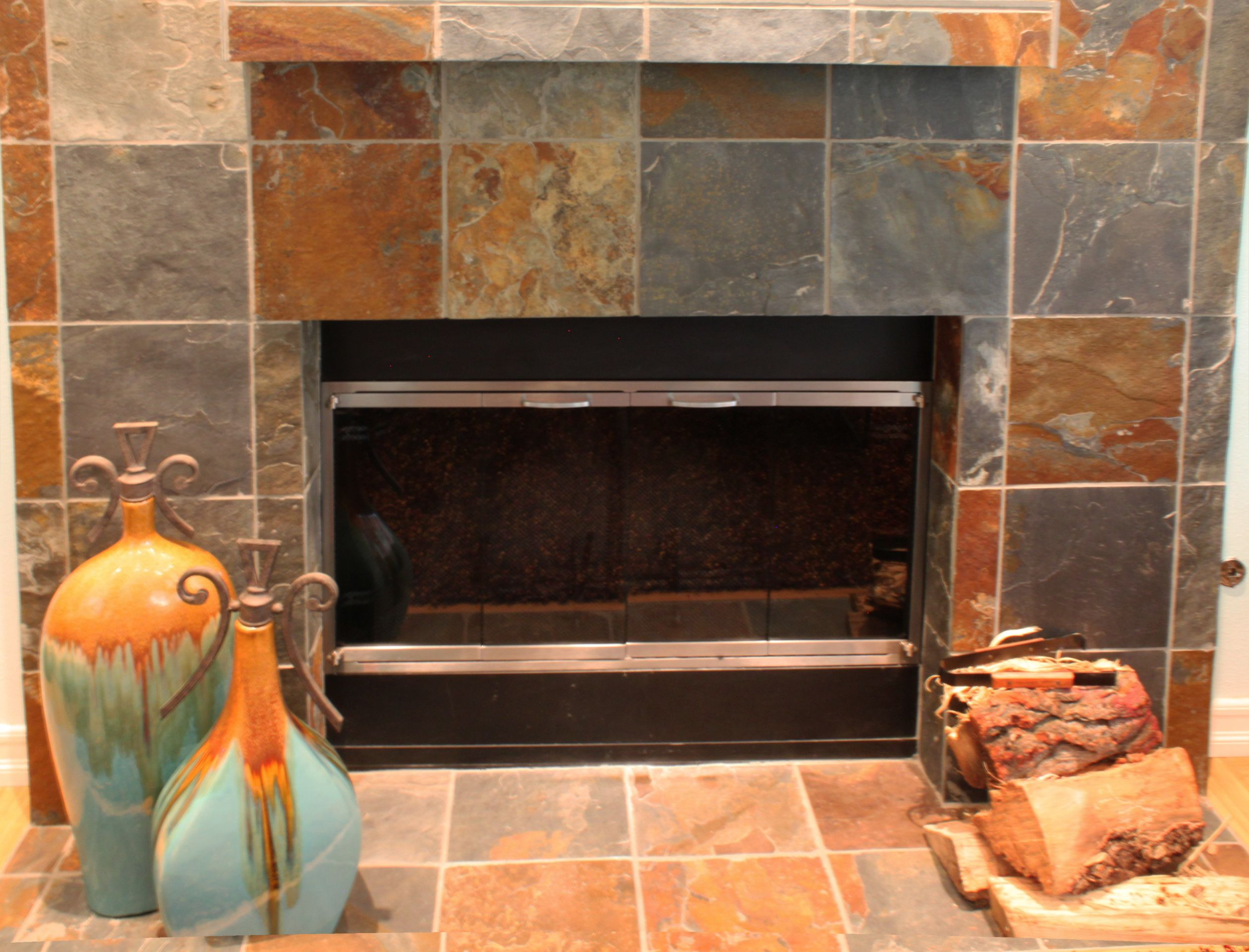 Your home improvements refference mosaic tile fireplace surround - This Is A Partial View Of A Slate Fireplace Surround Mantel That I Designed For