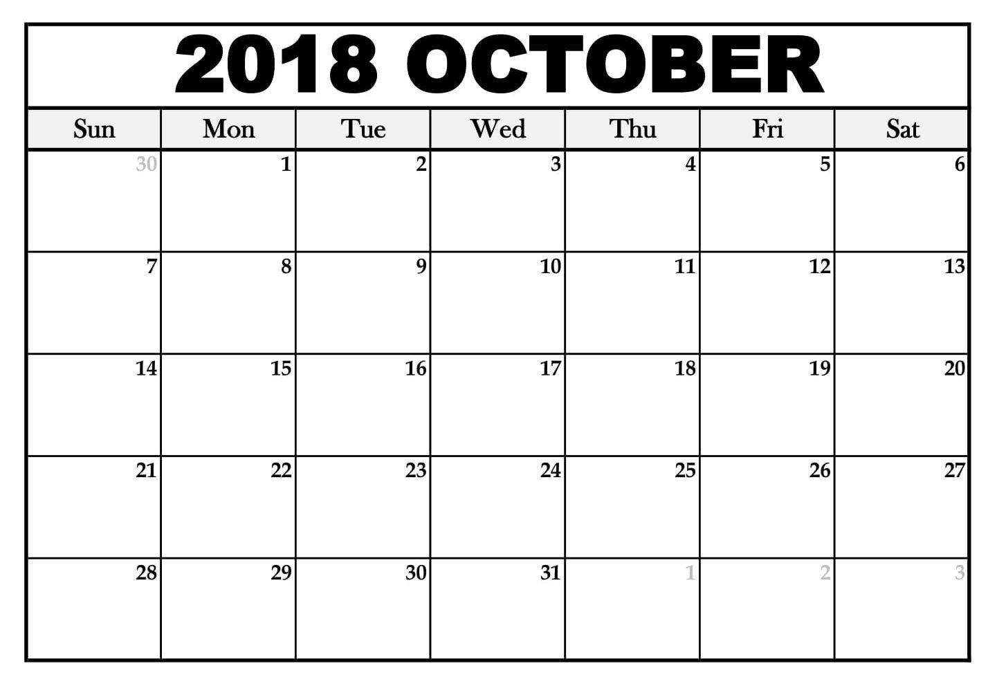 2018 October Weekly Calendar Printable Calendar October