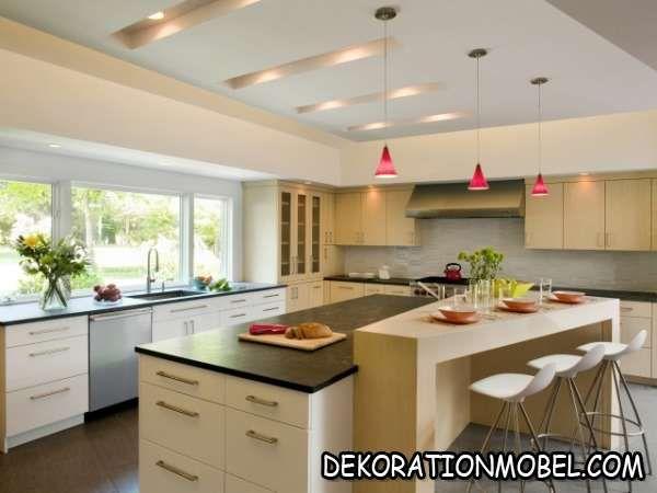 küche kochinsel esstheke einbauleuchten decke pendelleuchten rot - pendelleuchte für küche