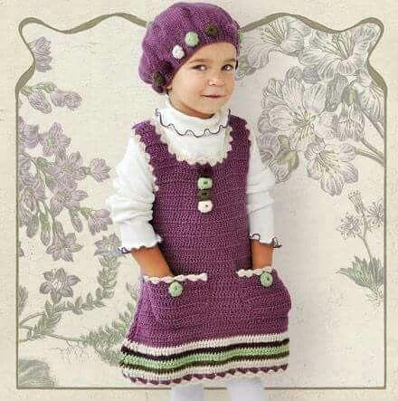 Vestido tejido con gorro | Baby | Pinterest | Vestidos tejidos ...
