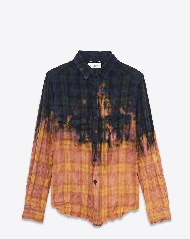 5dd45db745 Saint Laurent Raw Edge Shirt In Blue, Green And Washed Red Bleached Dégradé  Plaid Cotton | YSL.com