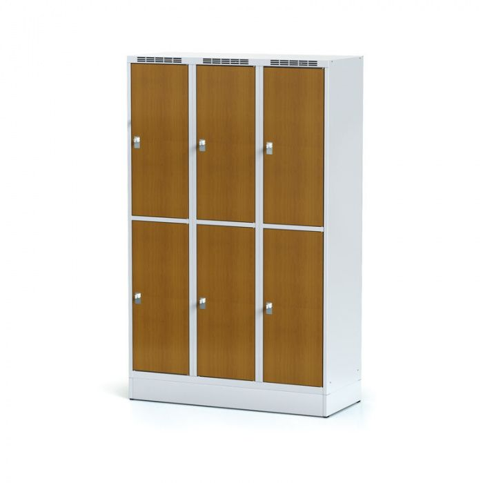 Wardrobe, 6 boxes 400 mm on the plinth, laminated cherry door …