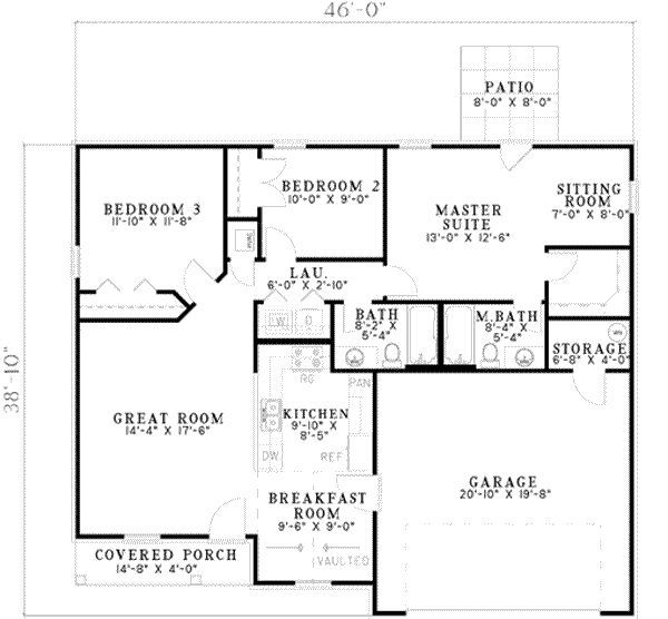 Traditional Style House Plan 3 Beds 2 Baths 1214 Sq Ft Plan 17 2128 Small House Plans House Plans How To Plan