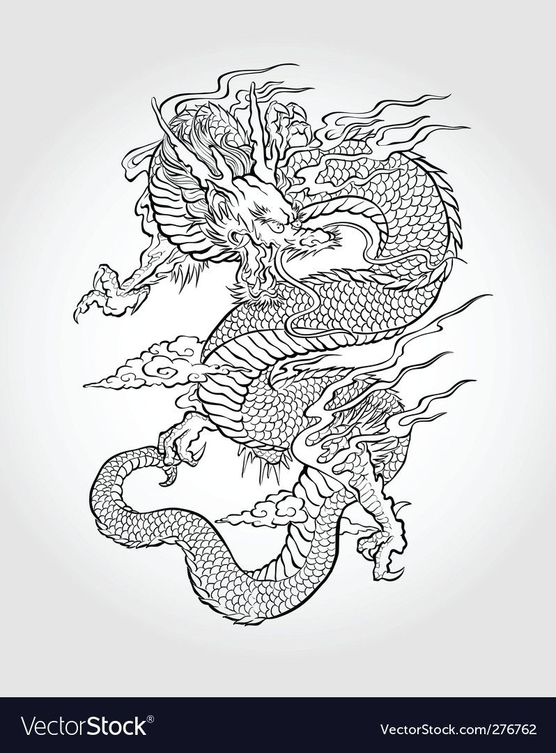 Asian Dragon Illustration Vector Image On Vectorstock Asian Dragon Tattoo Dragon Illustration Tattoo Illustration