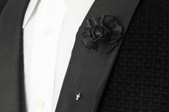a73faa7cf0b99 mens lapel pin, leather flower, black lapel pin | Hand & Heritage ...