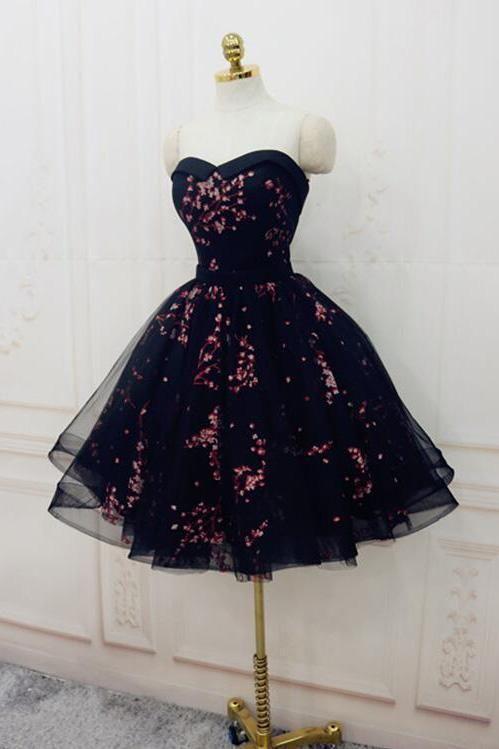 Cute Sweetheart Lace up Navy Blue Strapless Homecoming Dresses Short Prom Dresse #navyblueshortdress