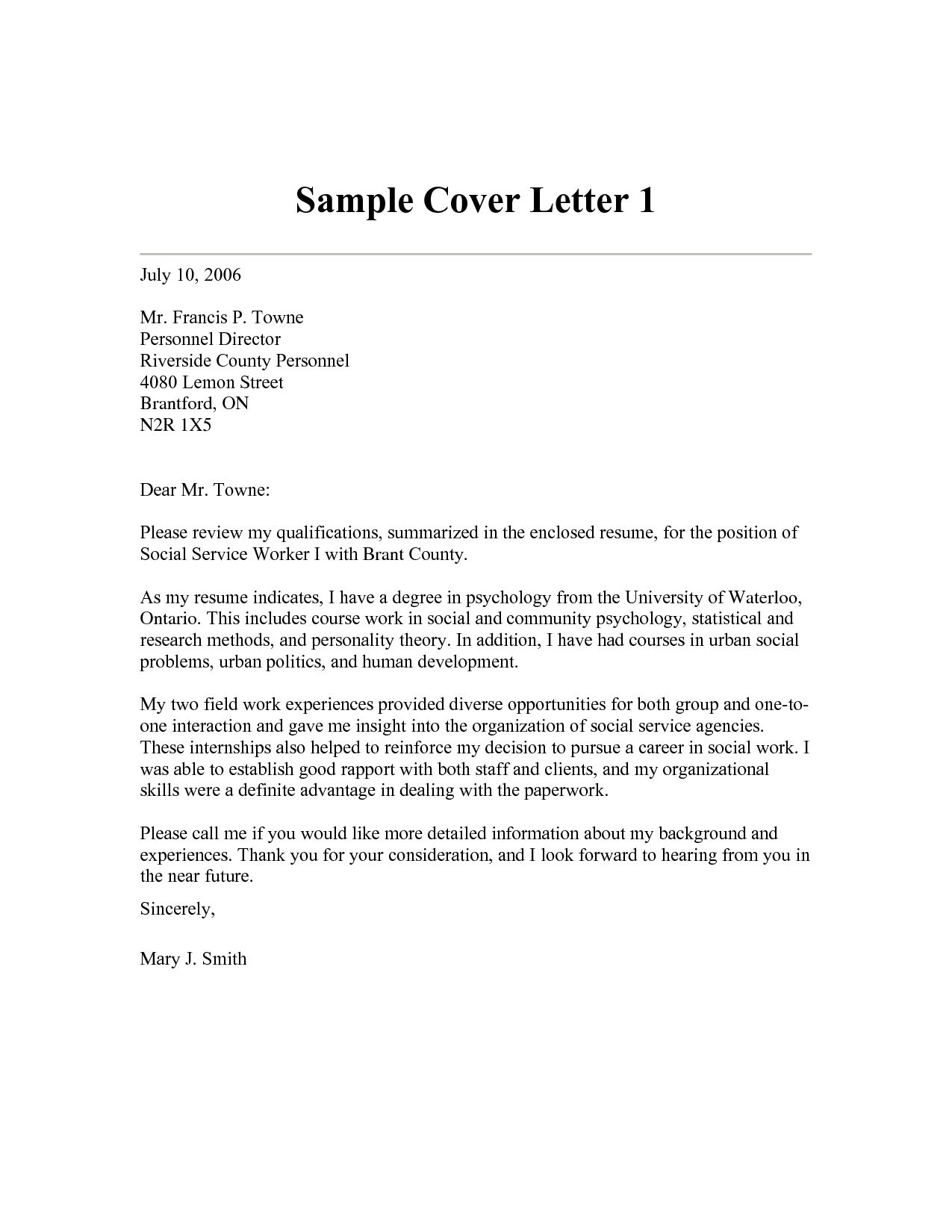 Cover Letter Template Social Work Coverlettertemplate
