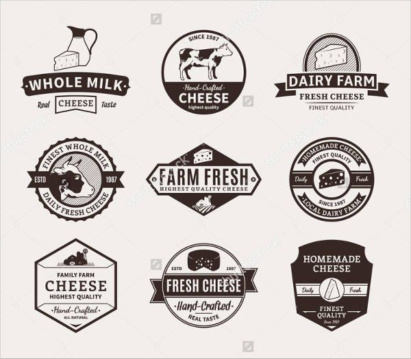 Vintage Product Advertising Logo Dairy Products Logo Cheese Labels Cheese Brands