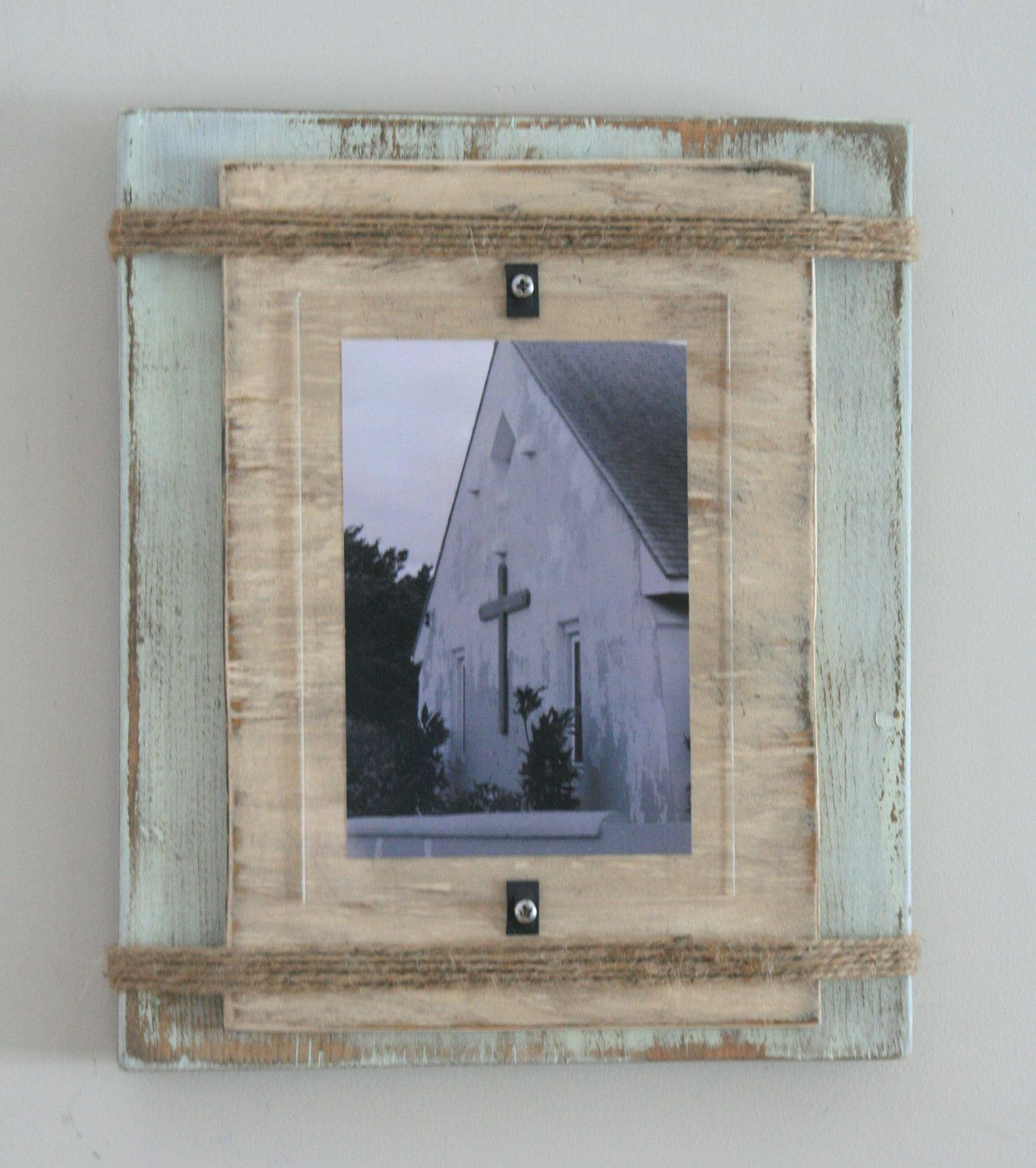 Distressed Handmade Picture Frame - Pale Green & Beige with Twine ...
