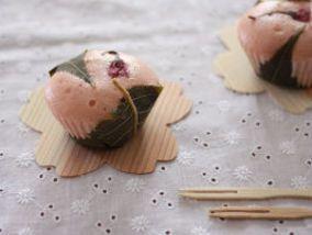 Sakura bun米粉でもっちり♪桜もち風蒸しパン