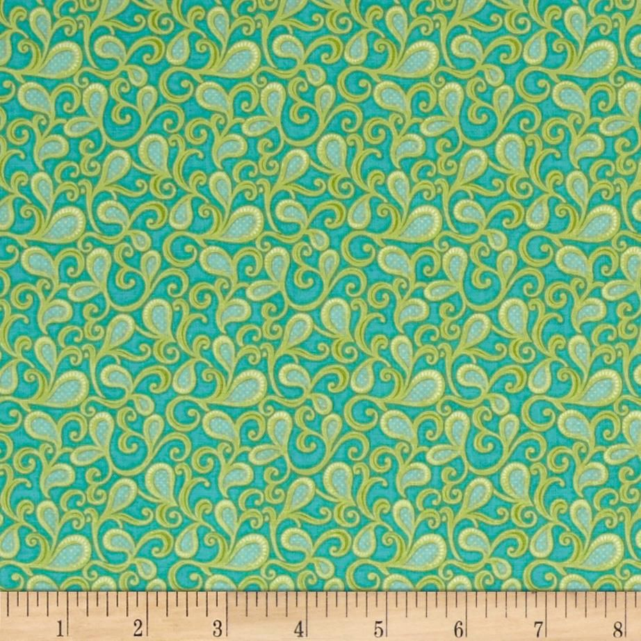 "Bella Paisley Turquoise; 100% cotton, 44"" wide"