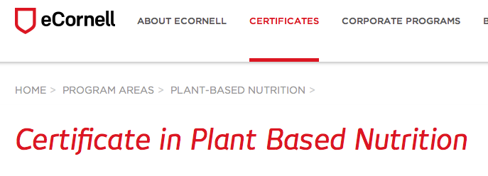 Certificate in Plant Based Nutrition - eCornell | Plant-Based ...