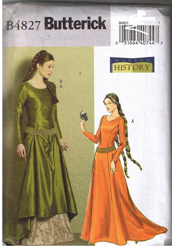 8c16c928521 Renaissance Medieval Back Lace Up Wedding Dress Gown Train Pattern 14 16 18  20  Butterick