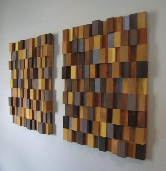 Bức tường sáng tạo với mô hình khối nhiều màu sắc