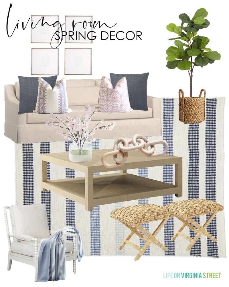 2020 Spring Decorating Ideas Design Boards Blue White Living