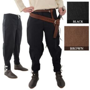 d824ee2d7c93 Chaucer: Pants in brown. Trousers With Ankle Lacing - 2 Colours. Black  Medieval ...