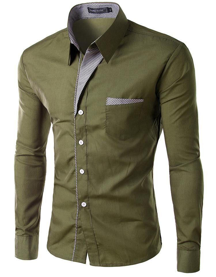 5dd623d6fe5 Mens Shirts Casual Slim Fit Stylish Hot Dress Shirts Color White ...