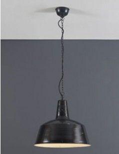 Luminaire suspension en métal noir industriel ZEUS