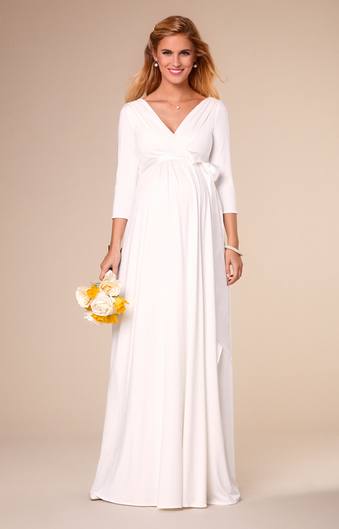 31bd6e4246bf Simple yet serene, our best-selling Willow maternity wedding gown has a  heavy drape for maximum glamour.