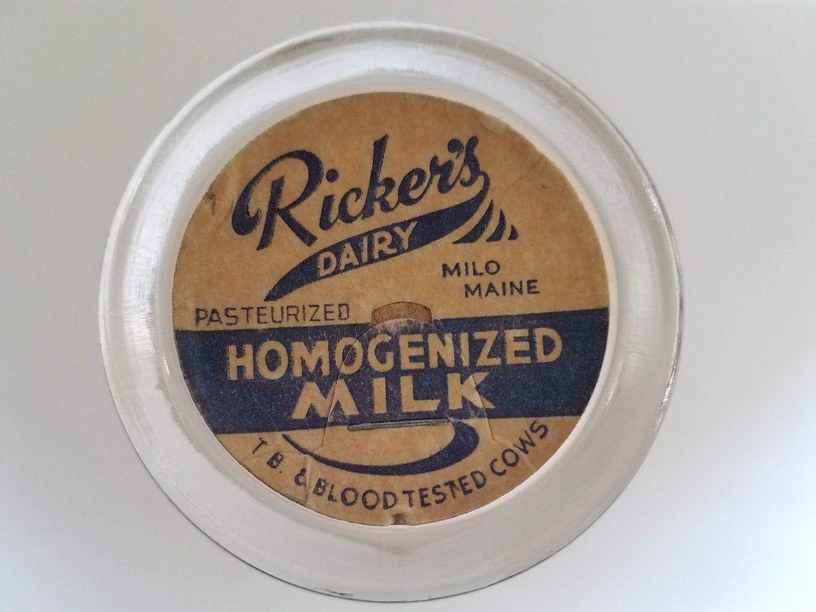 Vintage RICKER/'S DAIRY Cardboard MILK BOTTLE CAP Lid from MILO MAINE TB-TESTED