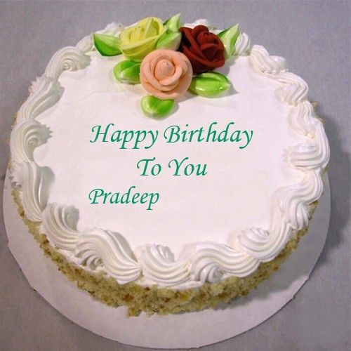 Print Pradeep Name On Happy Birthday Wishes Rose Cake Image