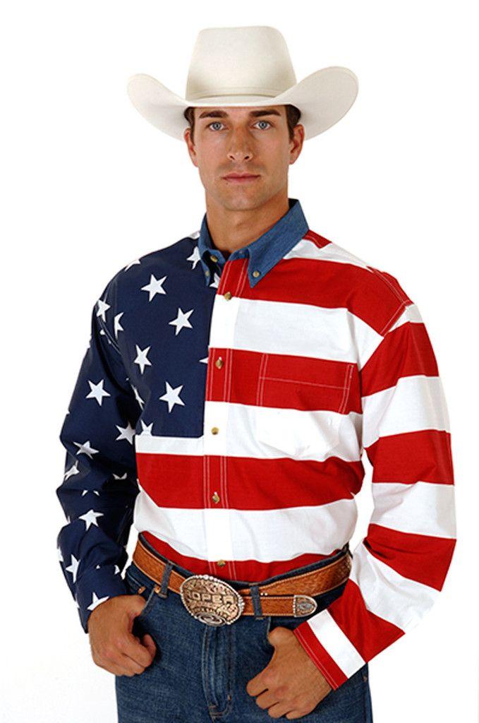 cc617d9bcf25c2 Roper Americana Mens Red 100% Cotton L/S USA Flag Print Button Western  Shirt Style # 03-001-0185-0101 RE