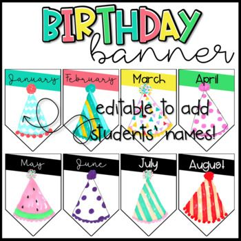 Includes 4 Banners With Months To Create A Birthday Banner Editable Add Your Students Names And Birthdays Their Month Four Versions Included B W