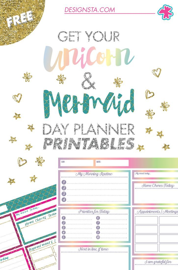 Get Your FREE Unicorn U0026 Mermaid Day Planner Printables ...  Day To Day Planner Template Free