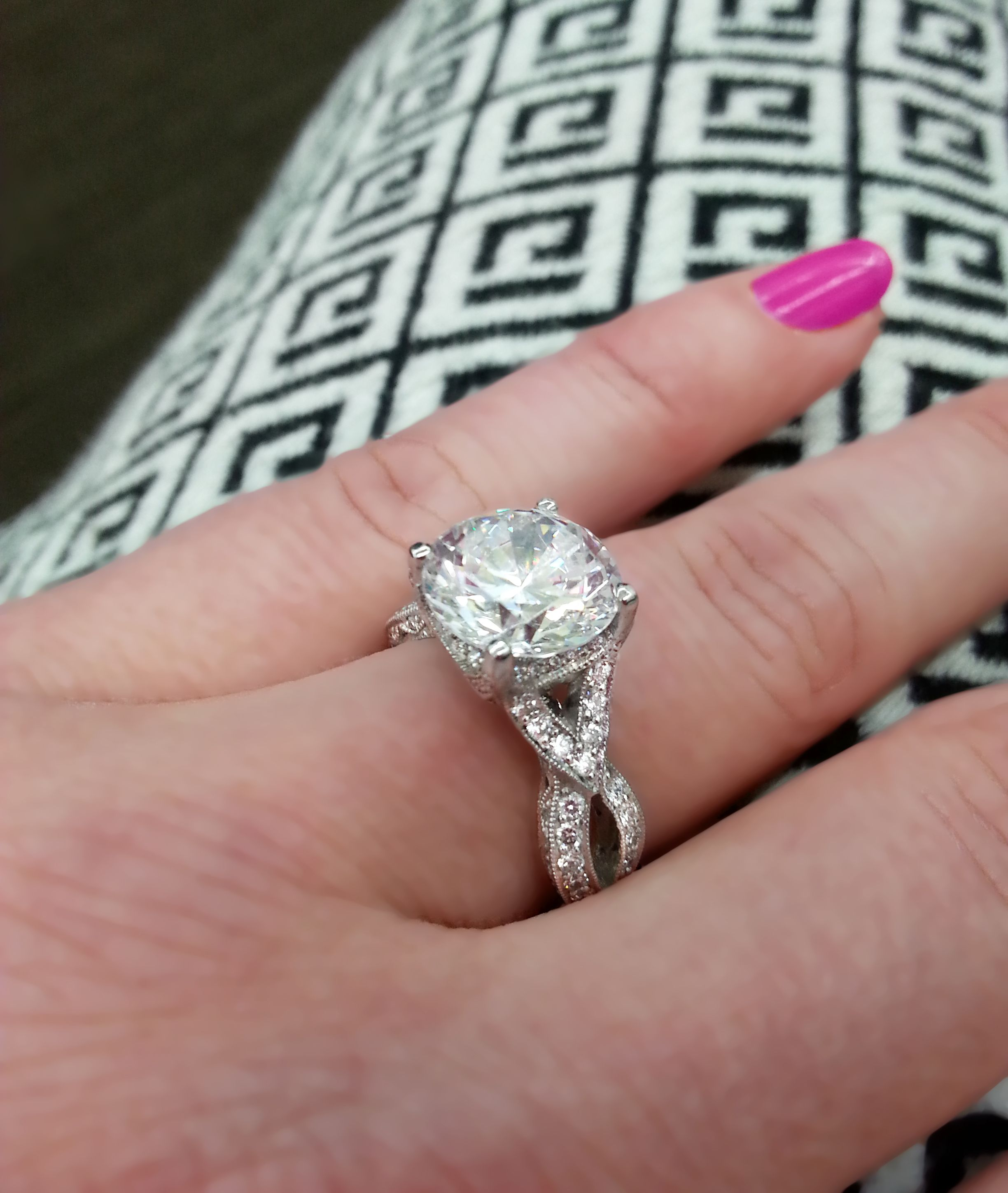 amazing Tacori ring with a 4.00 carat round diamond (my ring in rose ...