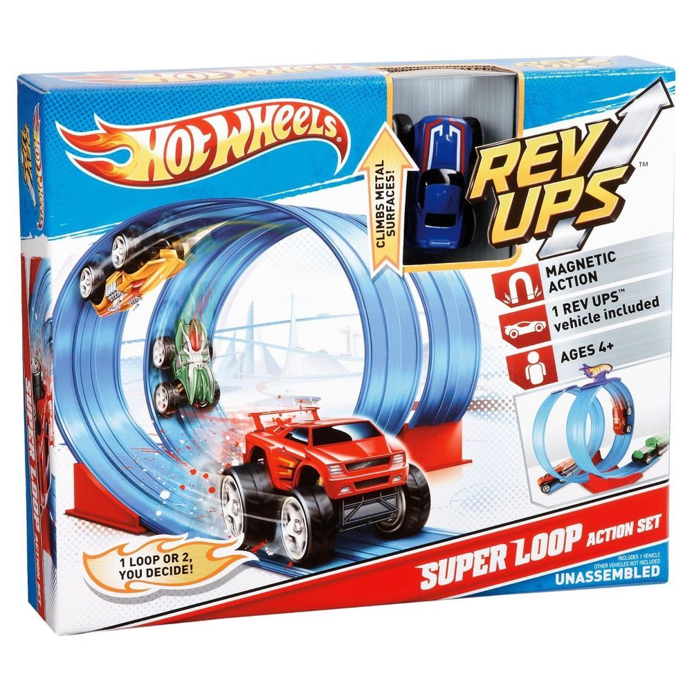 Hot Wheels Rev Ups Super Loop Action Playset Bnib Magnetic Action V3343 Retired Mattel Hot Wheels Playset Hot Wheels