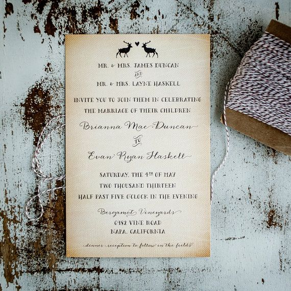 Rustic Wedding Invitation Suite - Vintage, Antique, casual ...