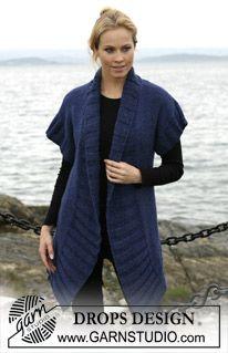 """DROPS jakke med korte ærmer og Rib i """"Silke-Tweed"""" og """"Alpaca"""". Str S-XXXL ~ DROPS Design"""