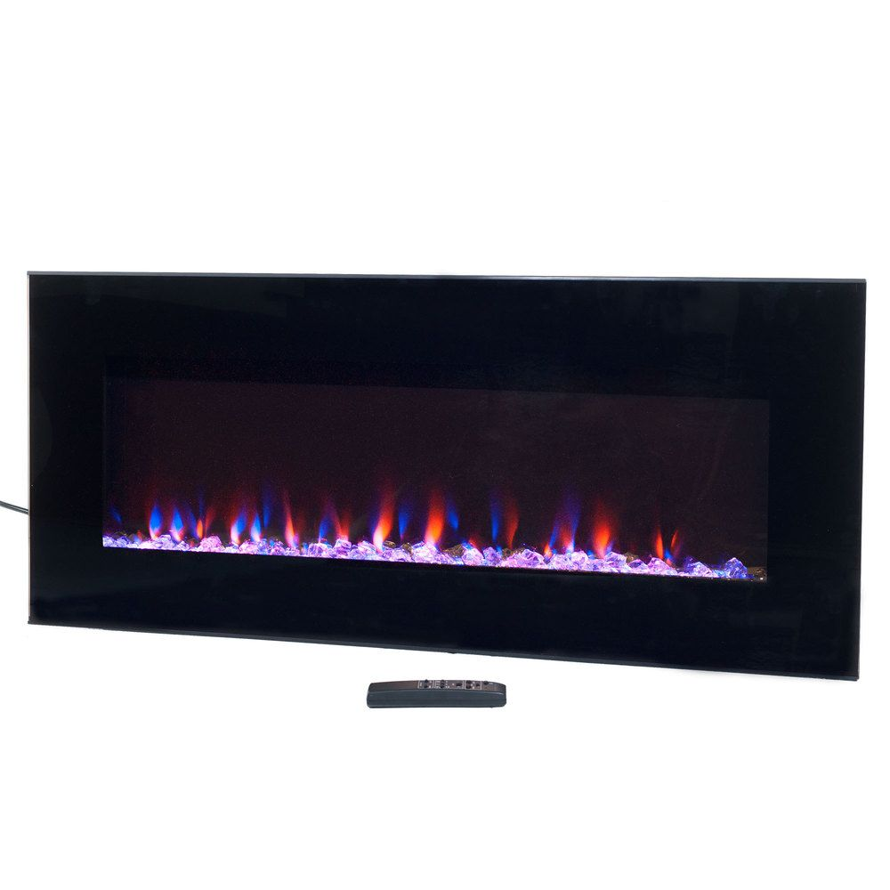 Electric Fireplace Wall Mounted Led Fire Ice Flame With Remote