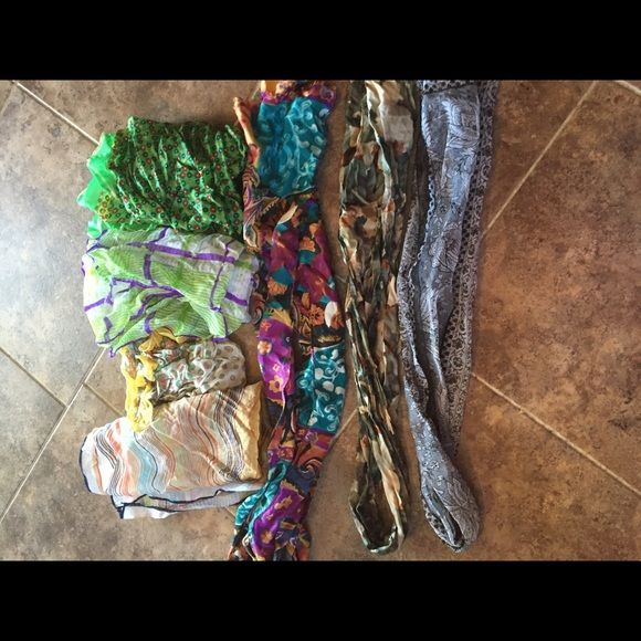 Group of scarves 7 piece lot of scarves 4 are large square scarves and 3 are long. All in great condition no tears or snags. A bit wrinkly right now but will be steamed prior to mailing out. Multiple brands. NEW LOWER PRICE❤️❤️❤️ Accessories Scarves & Wraps