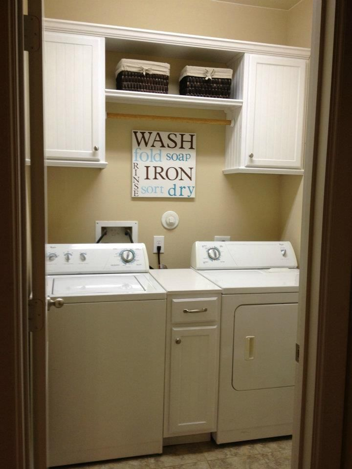 Nice Laundry Room   Remove The Ugly Wire Shelf And Replace W Basic White  Cabinets For A Lovely Clean Look    I Still Want My Washer And Dryer To  Have A Shelf ...