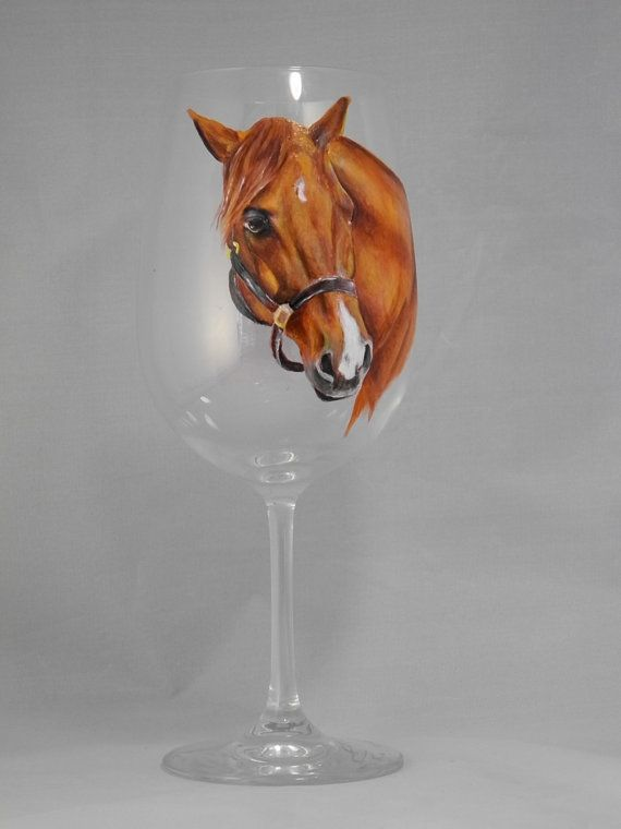 Horse Portrait Painted Glasses Custom Horse By