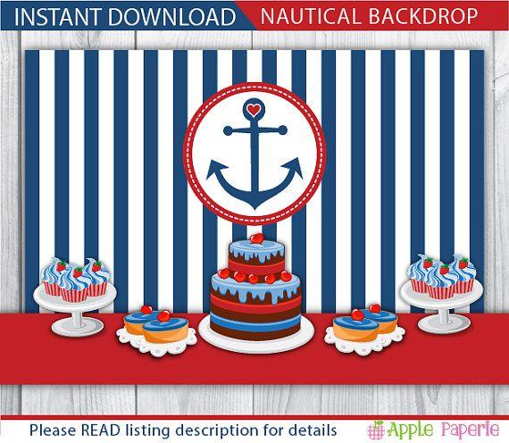 Nautical Backdrop Birthday Backdrop Baby Shower Backdrop Baby Shower Back Drop Baby Shower Photo Booth Backdrop Birthday Backdrop Baby Shower Backdrop