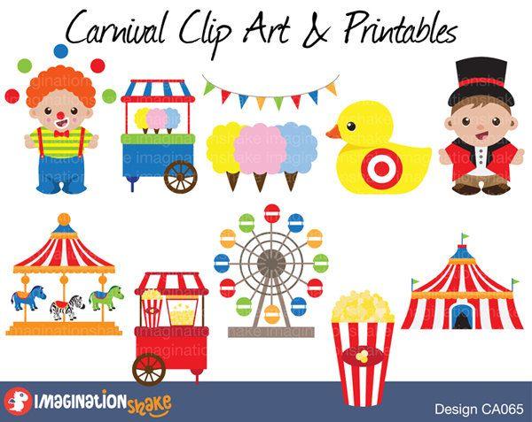 Carnival Clip Art & Printables Set / Amusement Park Clipart ...