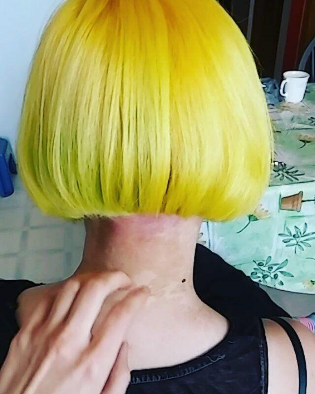 Fun yellow hair in a bob cut. bobhaircut shorthair