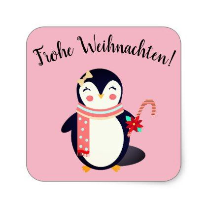 Merry Christmas German.Merry Christmas German Sticker With Penguin Merry