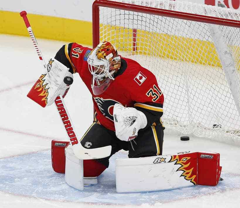 Calgary Flames Goaltender Eddie Lack Goalie Pads Hockey Goalie Goalie