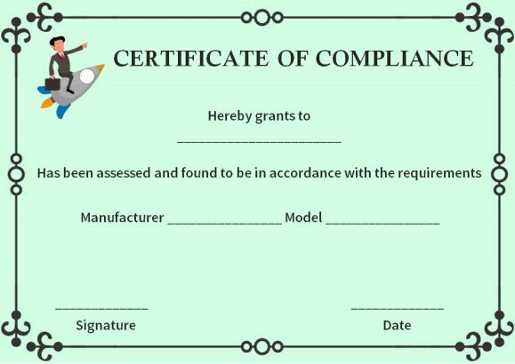Reach Certificate Of Compliance Template  Certificate Of Compliance