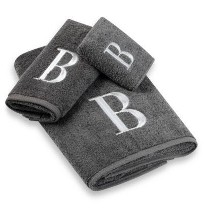 Avanti Premier Silver Block Monogram Bath Towel Collection In - Monogrammed bath towels for small bathroom ideas