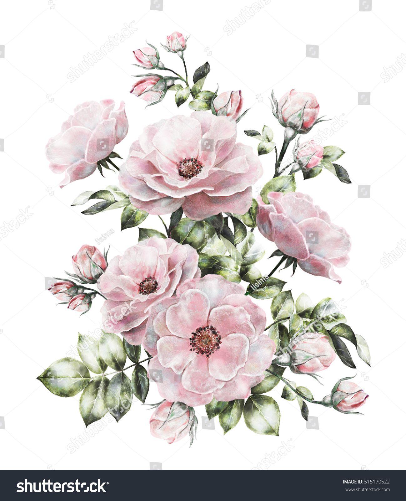 Vintage Watercolor Flowers Floral Illustration Flower In Pastel