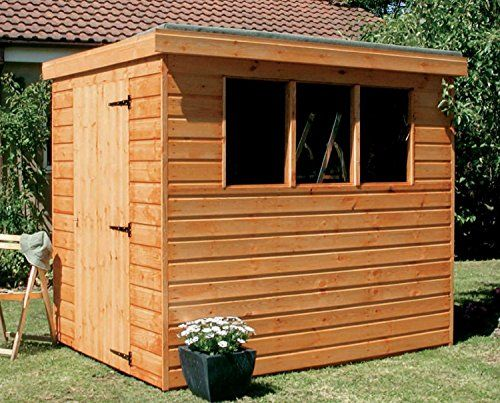 7x5 pent garden shed heavy duty tongue groove wood 34900 solid roof